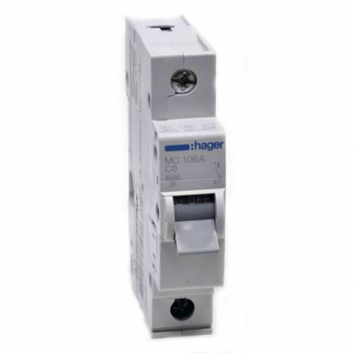 Hager MC106A 6A однополюсный автоматический выключатель