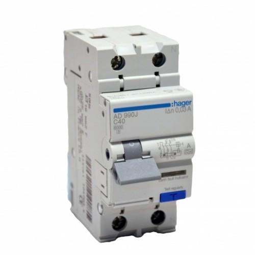 Дифференциальный автоматический выключательHager AD990J 40A