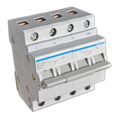 Модульный переключатель питающих вводов 2P 63 А Hager