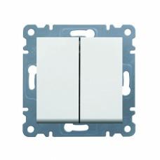 Выключатель двухклавишный универсальный Hager Lumina-2 10A 250B, белый