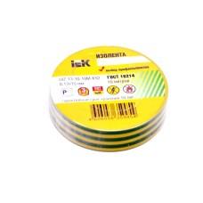 Изолента желто-зеленая 0,13ммх19мм, 10м, Юнилайт