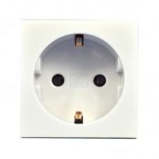 Розетка электрическая одинарная 220В, 50х50 мм, белая