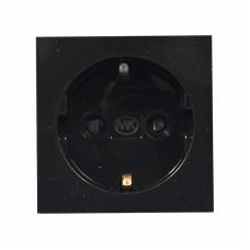 Розетка электрическая одинарная 220В, 50х50 мм, черная