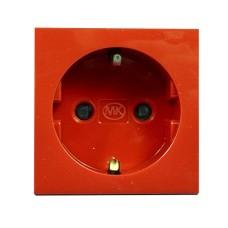 Розетка электрическая одинарная 220В, 50х50 мм, красная
