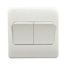 Выключатель двухклавишный MK Electric 86x86мм, белый