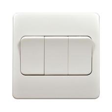 Выключатель трехклавишный проходной MK Electric 86x86мм, белый