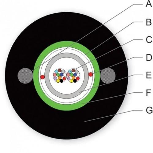 ВО кабель A-D(ZM)(SG)2Y, 24E9/125 SMF-28e+, центральная туба, стальная броня, 2 стальные проволки 2×1.2мм
