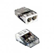 Соединитель для монолитных проводов (медь + алюминий) 0.75 – 2.5 мм2, 24А, 2 провода.