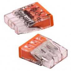 Клеммные блок 3х1 … 2.5мм2, для однопров.проводн., медь, WAGO, прозрачный