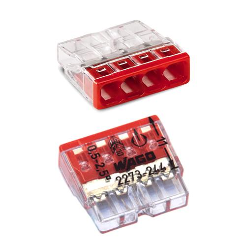Соединитель для монолитных проводов (медь + алюминий) 0.75 – 2.5 мм2, 24А, 4 провода.
