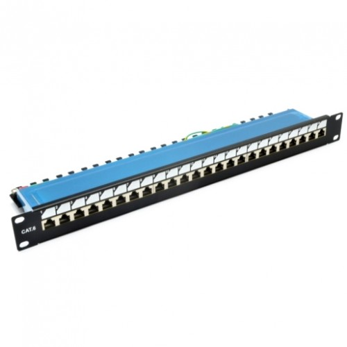 Патч-панель 19″ 24xRJ-45 FTP, кат. 6, dual type