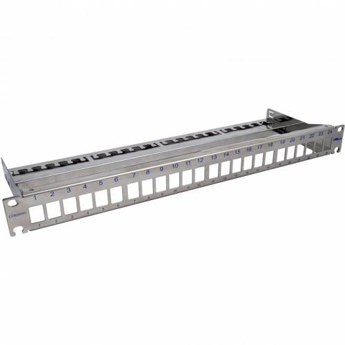 """Патч-панель для 24 модулей Keystone, 1U, 19 """", с кабельным организатором, сталь"""