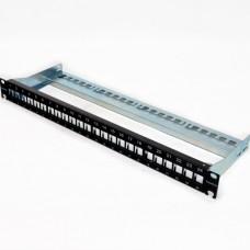 """Патч-панель для 24 модулей xs500 Keystone, 1U, 19 """", с кабельным организатором"""