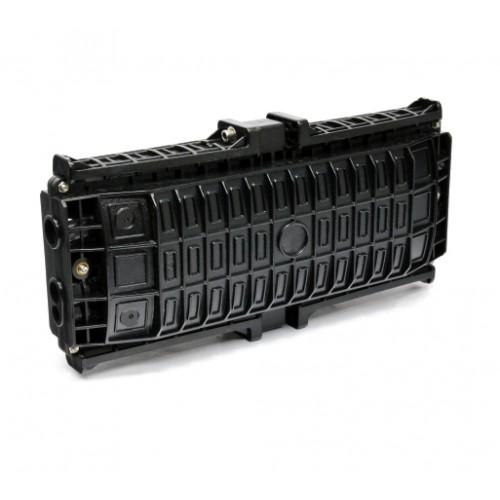 Муфта проходного типа, 6 механических кабельных вводов, 8 сплайс-кассет, 96 сплайс-протекторов