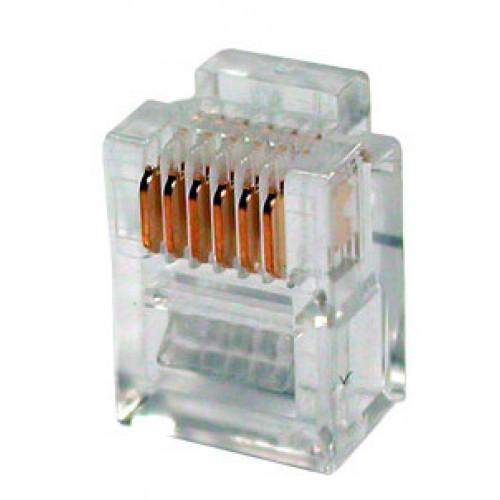 Коннектор телефонный RJ12, 6p6c