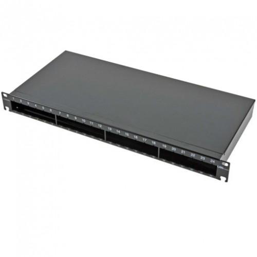 Не выдвижная патч-панель LANC под 24 модуля, 1U, 19″,на 4 стандартных сплайс-кассеты,черная