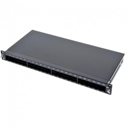 Патч-панель LANS под 24 модуля, 1U, 19″,на 4 сплайс-кассеты, черная