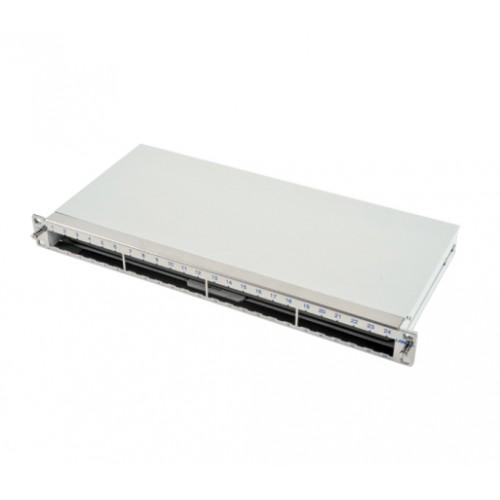 Патч-панель LANS под 24 модуля, 1U, 19″, на 4 сплайс-кассеты, нержавеющая сталь