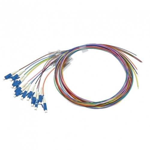 Набор цветных пигтейлов LC/UPC 1.5 m, SM, Easy strip, для 12 волокон, (Bl,Or,Gn,Br,Wh,Gr,Rd,Bk,Yl,Vl,Pk,Tq)