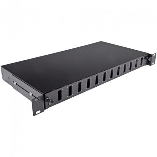 Патч-панель 24 порта 12 SCDuplex, пустая, кабельные вводы для 2xPG13.5 и 2xPG11, 1U, черная