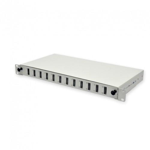 Патч-панель 24 порта 12SCDuplex, пустая, кабельные вводы для 2xPG13.5 и 2xPG11, 1U, серая