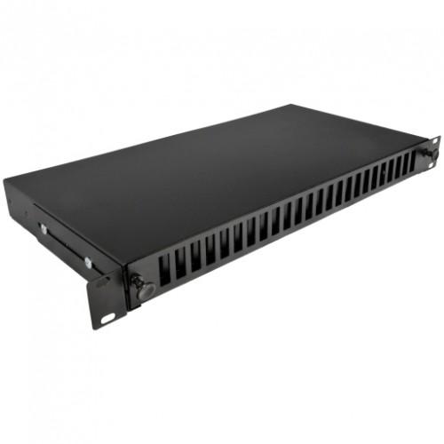 Патч-панель 48 портов 24 SCDuplex, пустая, кабельные вводы для 2xPG13.5 и 2xPG11, 1U, черная.