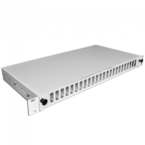 Патч-панель 48 портов 24 SCDuplex, пустая, кабельные вводы для 2xPG13.5 и 2xPG11, 1U, серая.