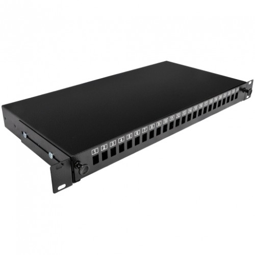 Патч-панель 24 порта SC-Simpl./LC-Dupl./E2000, пустая, кабельные вводы для 2xPG13.5 и 2xPG11, 1U, черная