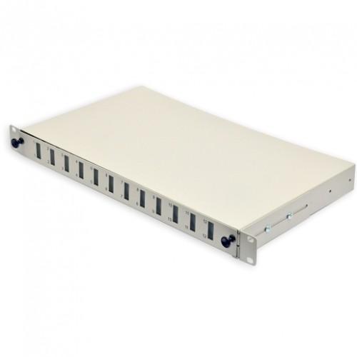 Патч-панель 24 портов 12 SCDuplex, пустая, кабельные вводы для 6xPG13.5 и 6xPG11, 1U, серая.