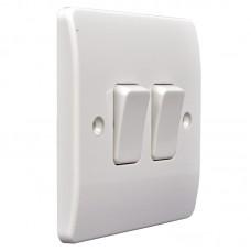 Выключатель проходной на две клавиши МК, белый, 86x86 мм