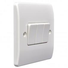 Выключатель проходной на три клавиши МК, белый, 86x86 мм