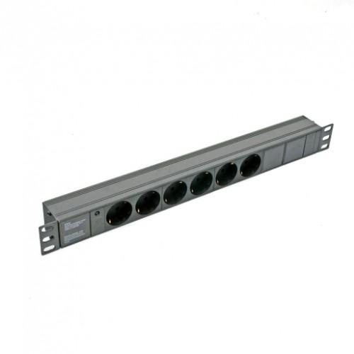 Блок 19″ на 6 роз., 10А, с индикатором., черный, 1U, без шнура, разъём С14