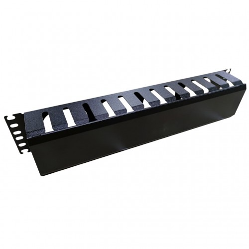 Кабельный организатор 2U металлический перфорированный, черный