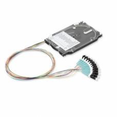 Набор 12 цветных пигтейлов оптических LC/UPC MM (OM3) со сплайс-кассетой
