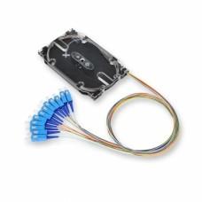Набор 12 цветных пигтейлов оптических SC/UPC SM (OS2) со сплайс-кассетой
