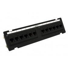Патч-панель настенная 12xRJ-45 UTP, кат. 6, dual type, черная, EPNew